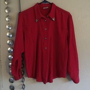 Red western top